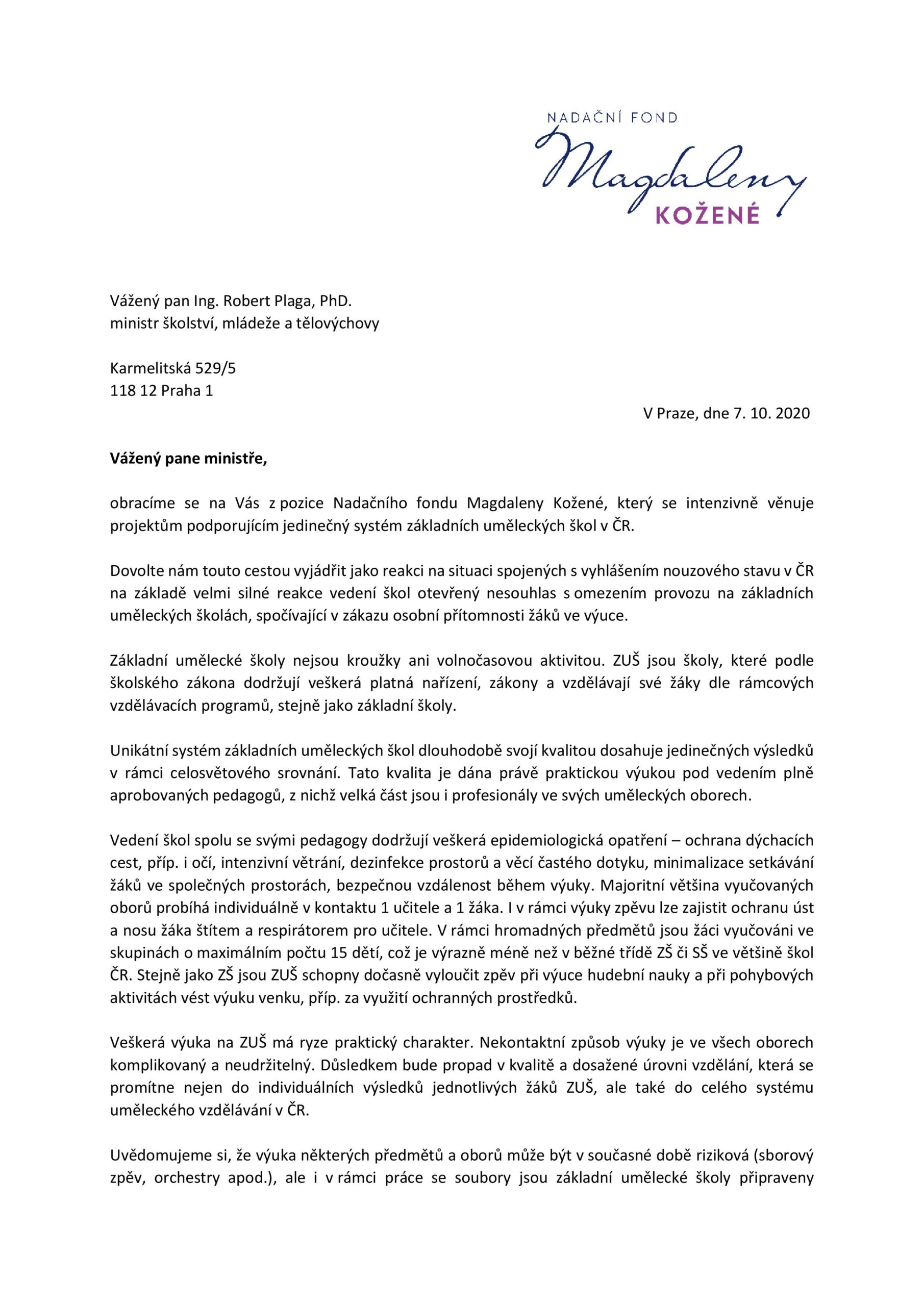 Dopis ministrovi školství