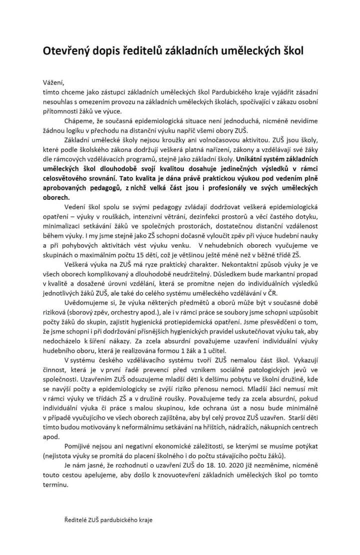 Otevřený dopis ředitelů základních uměleckých škol